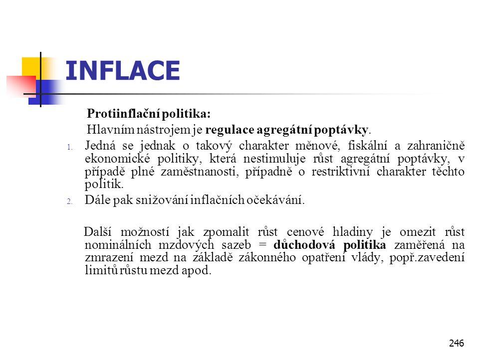 246 INFLACE Protiinflační politika: Hlavním nástrojem je regulace agregátní poptávky. 1. Jedná se jednak o takový charakter měnové, fiskální a zahrani