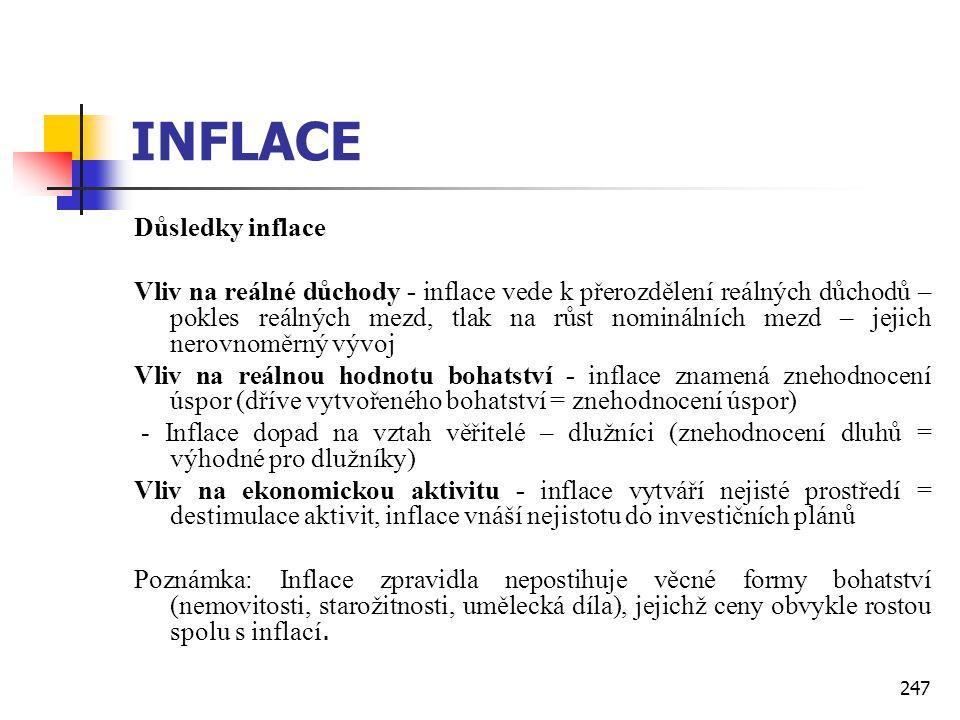 247 INFLACE Důsledky inflace Vliv na reálné důchody - inflace vede k přerozdělení reálných důchodů – pokles reálných mezd, tlak na růst nominálních me