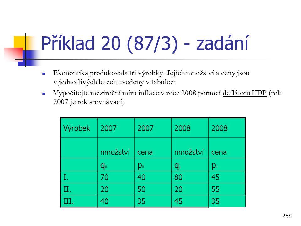 258 Příklad 20 (87/3) - zadání  Ekonomika produkovala tři výrobky. Jejich množství a ceny jsou v jednotlivých letech uvedeny v tabulce:  Vypočítejte
