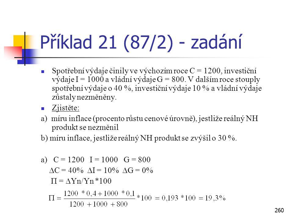 260 Příklad 21 (87/2) - zadání  Spotřební výdaje činily ve výchozím roce C = 1200, investiční výdaje I = 1000 a vládní výdaje G = 800. V dalším roce