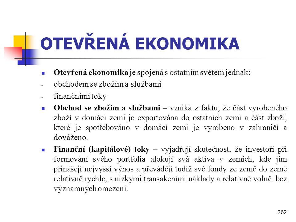 262 OTEVŘENÁ EKONOMIKA  Otevřená ekonomika je spojená s ostatním světem jednak: - obchodem se zbožím a službami - finančními toky  Obchod se zbožím