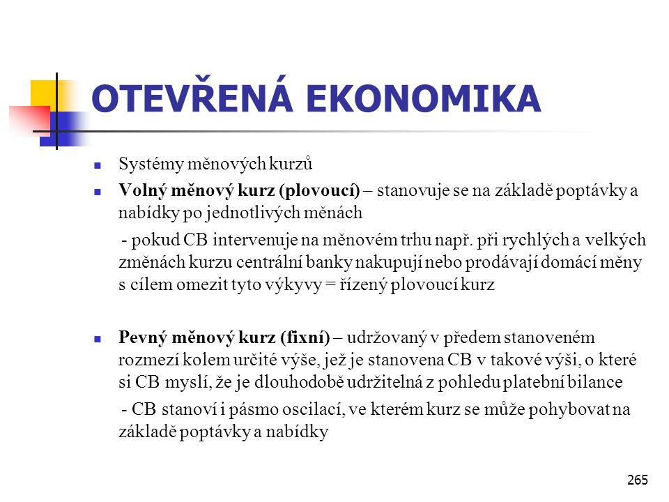 265 OTEVŘENÁ EKONOMIKA  Systémy měnových kurzů  Volný měnový kurz (plovoucí) – stanovuje se na základě poptávky a nabídky po jednotlivých měnách - p