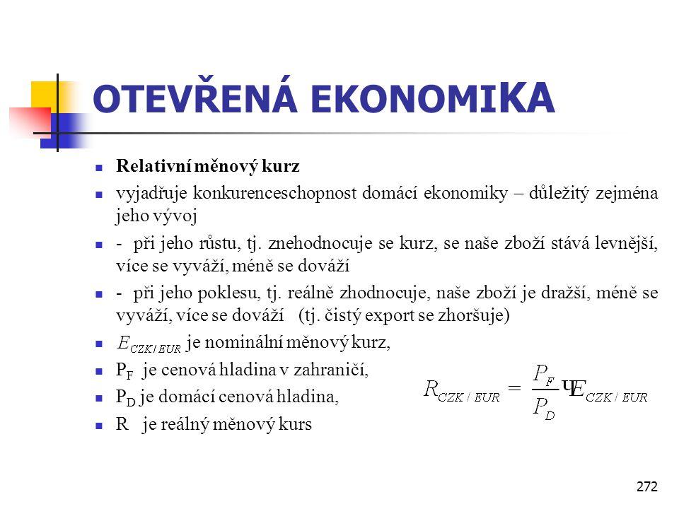 272 OTEVŘENÁ EKONOMI KA  Relativní měnový kurz  vyjadřuje konkurenceschopnost domácí ekonomiky – důležitý zejména jeho vývoj  - při jeho růstu, tj.