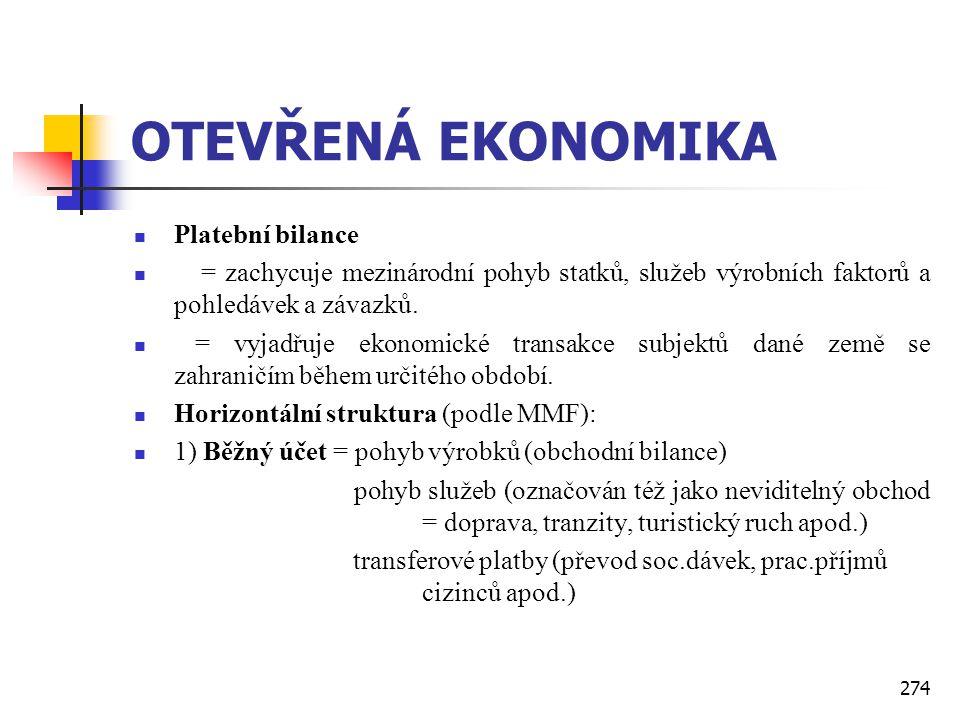 274 OTEVŘENÁ EKONOMIKA  Platební bilance  = zachycuje mezinárodní pohyb statků, služeb výrobních faktorů a pohledávek a závazků.  = vyjadřuje ekono