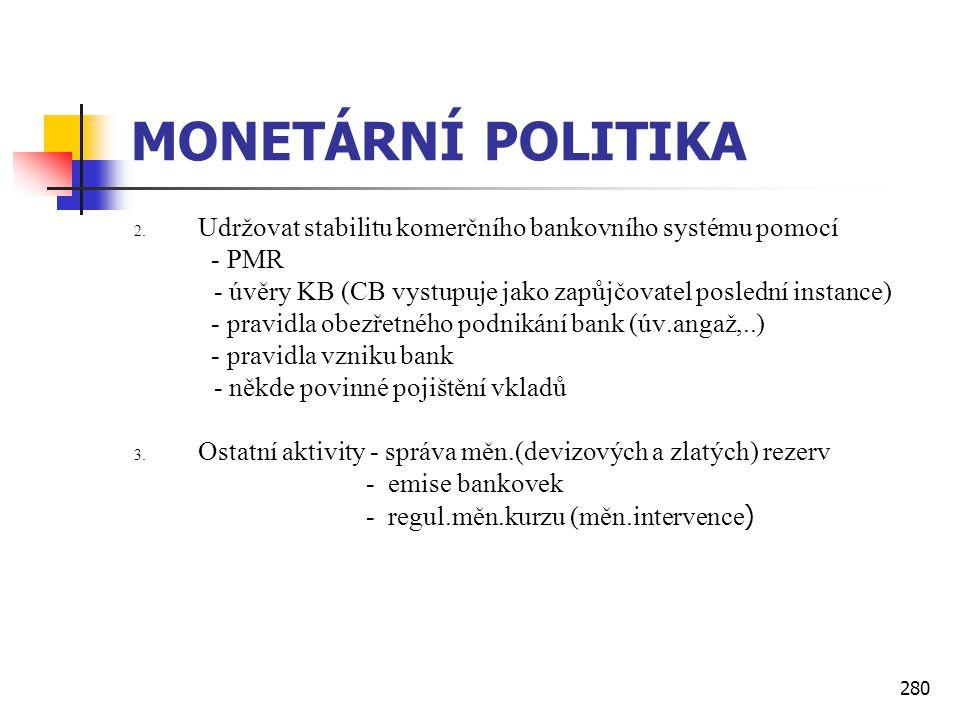 280 MONETÁRNÍ POLITIKA 2. Udržovat stabilitu komerčního bankovního systému pomocí - PMR - úvěry KB (CB vystupuje jako zapůjčovatel poslední instance)