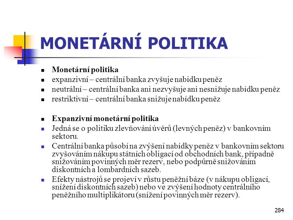 284 MONETÁRNÍ POLITIKA  Monetární politika  expanzivní – centrální banka zvyšuje nabídku peněz  neutrální – centrální banka ani nezvyšuje ani nesni