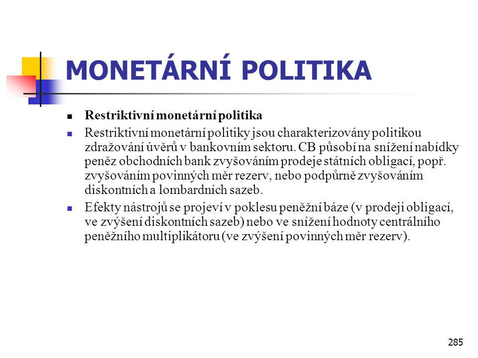285 MONETÁRNÍ POLITIKA  Restriktivní monetární politika  Restriktivní monetární politiky jsou charakterizovány politikou zdražování úvěrů v bankovní