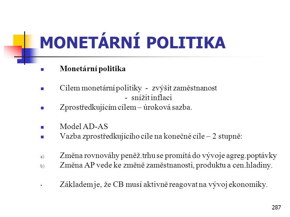 287 MONETÁRNÍ POLITIKA  Monetární politika  Cílem monetární politiky - zvýšit zaměstnanost - snížit inflaci  Zprostředkujícím cílem – úroková sazba
