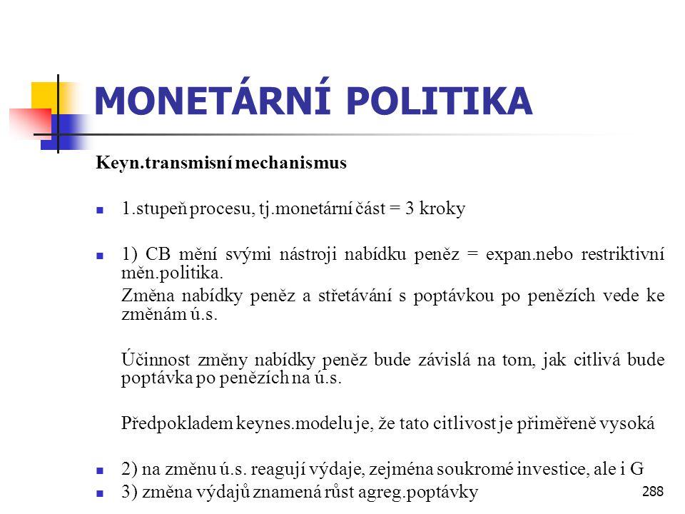 288 MONETÁRNÍ POLITIKA Keyn.transmisní mechanismus  1.stupeň procesu, tj.monetární část = 3 kroky  1) CB mění svými nástroji nabídku peněz = expan.n