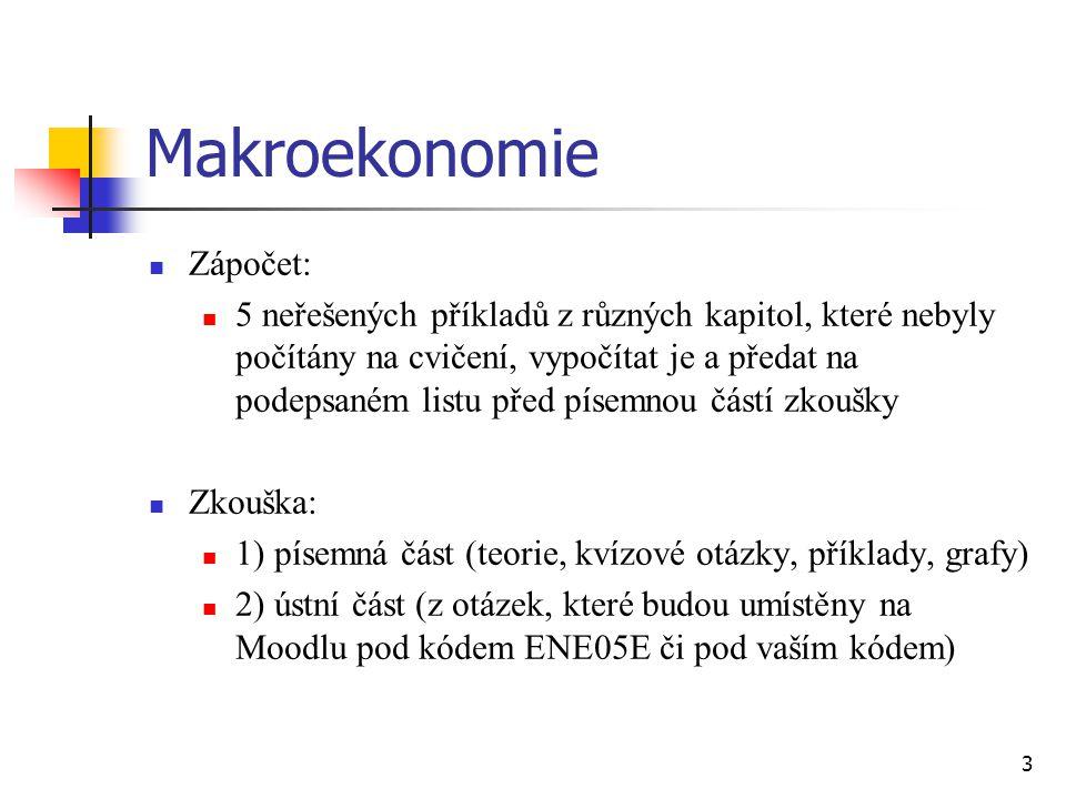 Makroekonomie  Zápočet:  5 neřešených příkladů z různých kapitol, které nebyly počítány na cvičení, vypočítat je a předat na podepsaném listu před p