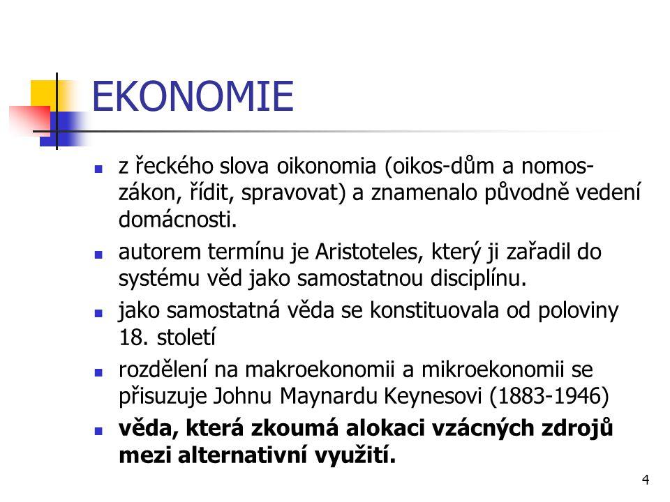 4 EKONOMIE  z řeckého slova oikonomia (oikos-dům a nomos- zákon, řídit, spravovat) a znamenalo původně vedení domácnosti.  autorem termínu je Aristo