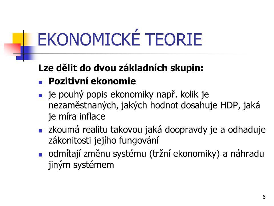 6 EKONOMICKÉ TEORIE Lze dělit do dvou základních skupin:  Pozitivní ekonomie  je pouhý popis ekonomiky např. kolik je nezaměstnaných, jakých hodnot