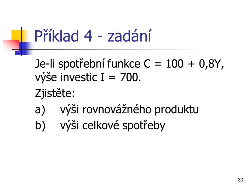 80 Příklad 4 - zadání Je-li spotřební funkce C = 100 + 0,8Y, výše investic I = 700. Zjistěte: a)výši rovnovážného produktu b)výši celkové spotřeby