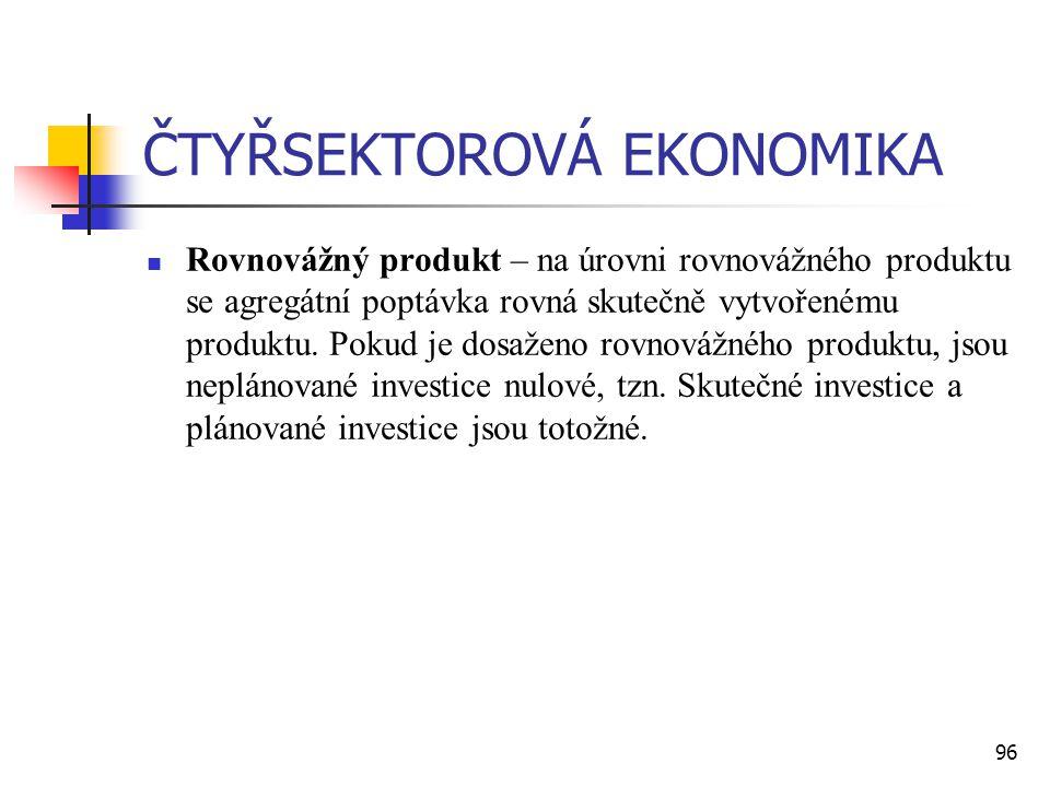 96 ČTYŘSEKTOROVÁ EKONOMIKA  Rovnovážný produkt – na úrovni rovnovážného produktu se agregátní poptávka rovná skutečně vytvořenému produktu. Pokud je