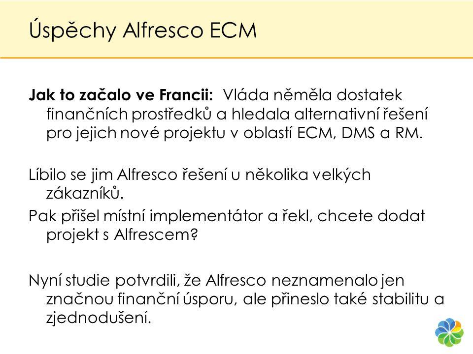 Úspěchy Alfresco ECM Jak to začalo ve Francii: Vláda něměla dostatek finančních prostředků a hledala alternativní řešení pro jejich nové projektu v ob