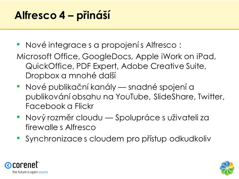 Alfresco 4 – přináší • Nové integrace s a propojení s Alfresco : Microsoft Office, GoogleDocs, Apple iWork on iPad, QuickOffice, PDF Expert, Adobe Cre