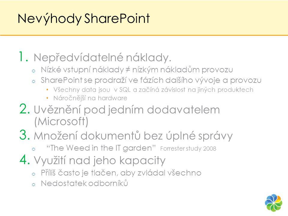 Nevýhody SharePoint 1. Nepředvídatelné náklady. o Nízké vstupní náklady ≠ nízkým nákladům provozu o SharePoint se prodraží ve fázích dalšího vývoje a