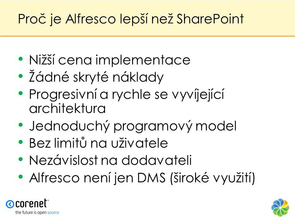 Proč je Alfresco lepší než SharePoint • Nižší cena implementace • Žádné skryté náklady • Progresivní a rychle se vyvíjející architektura • Jednoduchý