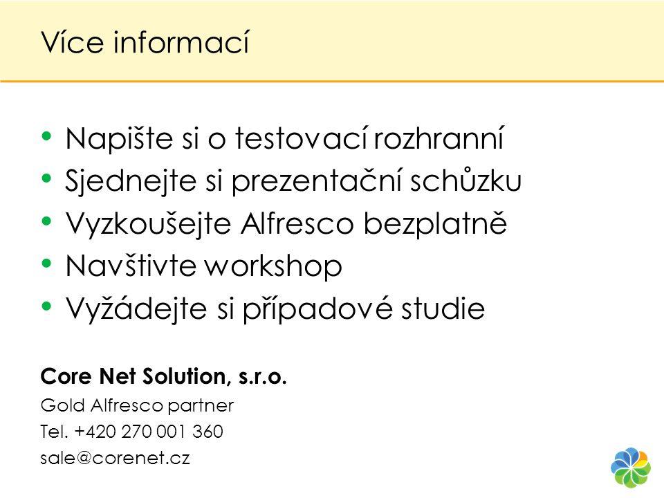 Více informací • Napište si o testovací rozhranní • Sjednejte si prezentační schůzku • Vyzkoušejte Alfresco bezplatně • Navštivte workshop • Vyžádejte