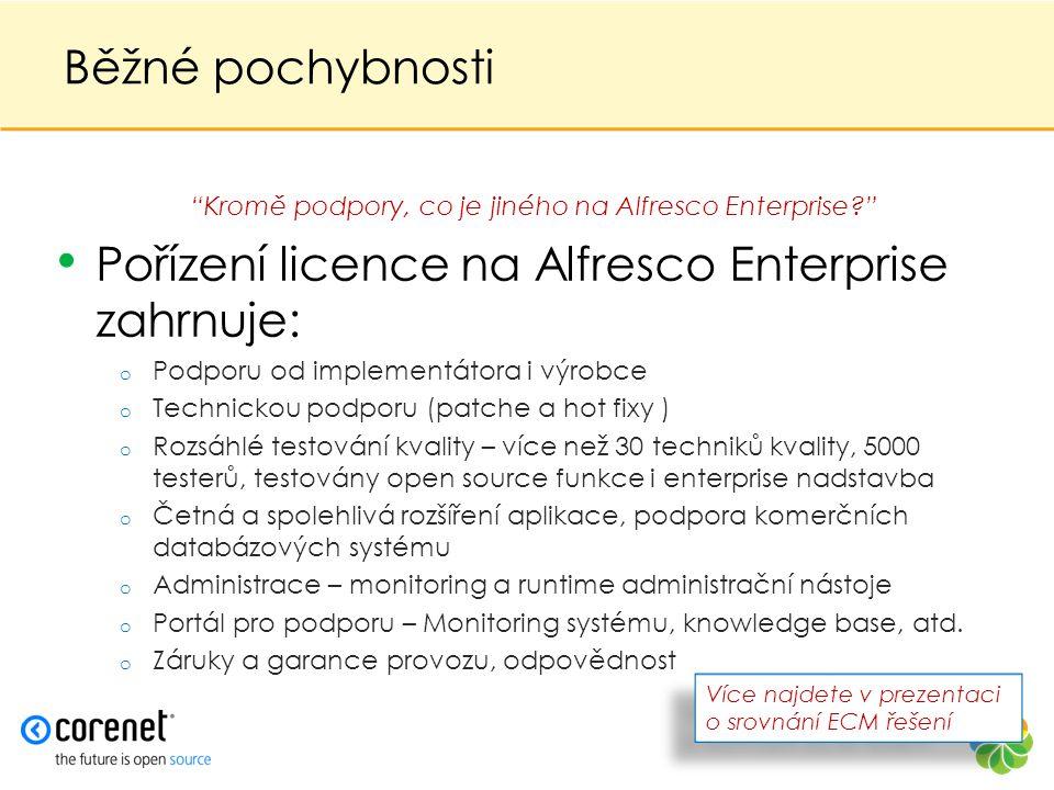 Běžné pochybnosti • Pořízení licence na Alfresco Enterprise zahrnuje: o Podporu od implementátora i výrobce o Technickou podporu (patche a hot fixy )