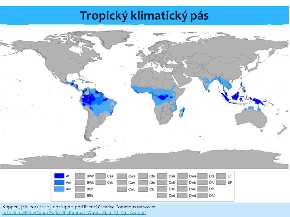 Tropický klimatický pás Koppen, [cit. 2012-12-12]. dostupné pod licenci Creative Commons na www: http://en.wikipedia.org/wiki/File:Koppen_World_Map_Af
