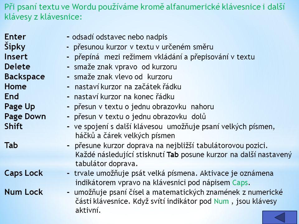 Při psaní textu ve Wordu používáme kromě alfanumerické klávesnice i další klávesy z klávesnice: Enter – odsadí odstavec nebo nadpis Šipky - přesunou k