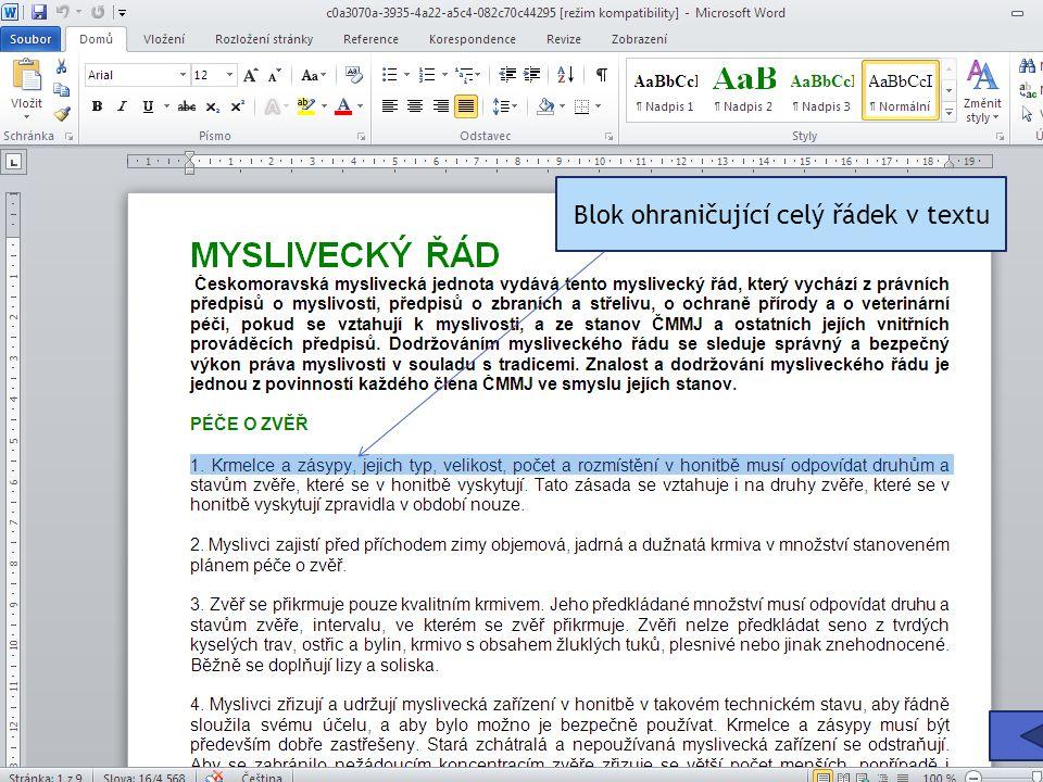 Blok ohraničující celý řádek v textu