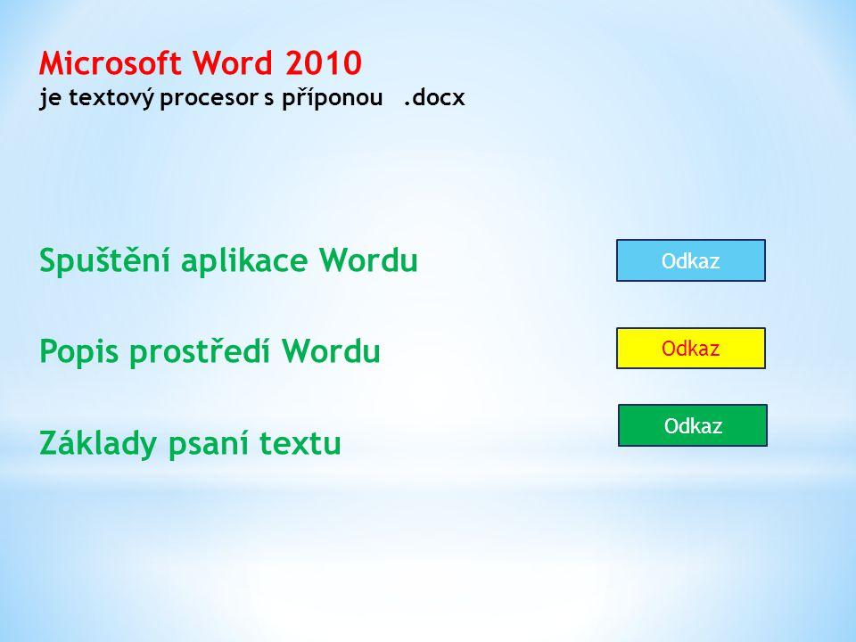 Microsoft Word 2010 je textový procesor s příponou.docx Spuštění aplikace Wordu Popis prostředí Wordu Základy psaní textu Odkaz