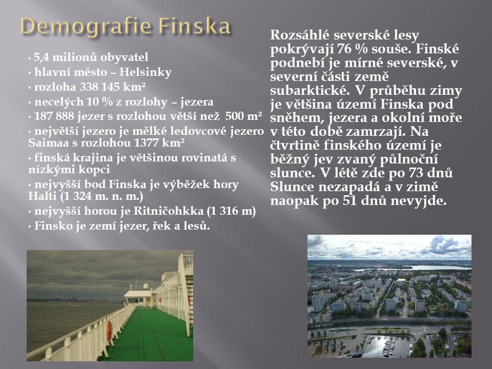 • 5,4 milionů obyvatel • hlavní město – Helsinky • rozloha 338 145 km² • necelých 10 % z rozlohy – jezera • 187 888 jezer s rozlohou větší než 500 m² • největší jezero je mělké ledovcové jezero Saimaa s rozlohou 1377 km² • finská krajina je většinou rovinatá s nízkými kopci • nejvyšší bod Finska je výběžek hory Halti (1 324 m.