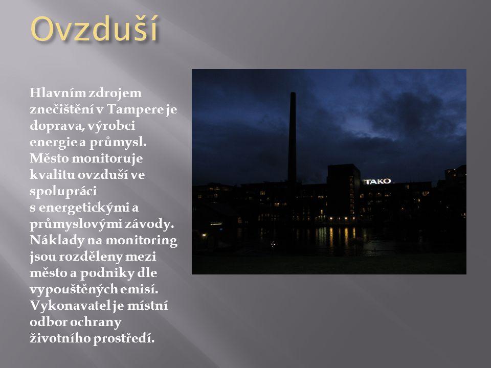 Ovzduší Hlavním zdrojem znečištění v Tampere je doprava, výrobci energie a průmysl. Město monitoruje kvalitu ovzduší ve spolupráci s energetickými a p