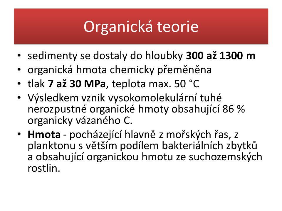 Organická teorie • sedimenty se dostaly do hloubky 300 až 1300 m • organická hmota chemicky přeměněna • tlak 7 až 30 MPa, teplota max. 50 °C • Výsledk