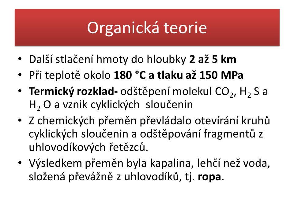 Organická teorie • Další stlačení hmoty do hloubky 2 až 5 km • Při teplotě okolo 180 °C a tlaku až 150 MPa • Termický rozklad- odštěpení molekul CO 2,