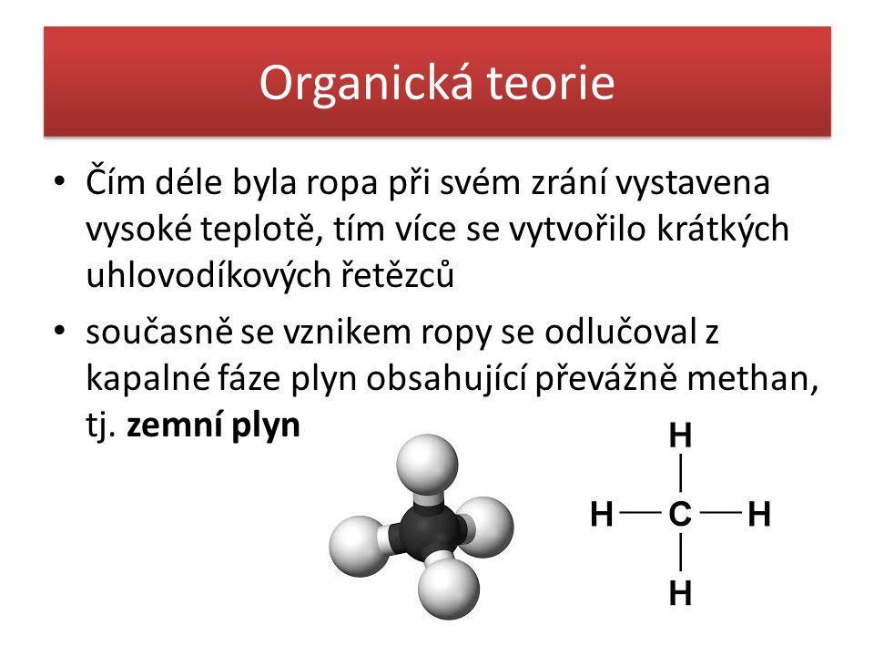 Organická teorie • Čím déle byla ropa při svém zrání vystavena vysoké teplotě, tím více se vytvořilo krátkých uhlovodíkových řetězců • současně se vznikem ropy se odlučoval z kapalné fáze plyn obsahující převážně methan, tj.