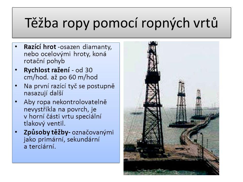 Těžba ropy pomocí ropných vrtů • Razící hrot -osazen diamanty, nebo ocelovými hroty, koná rotační pohyb • Rychlost ražení - od 30 cm/hod. až po 60 m/h
