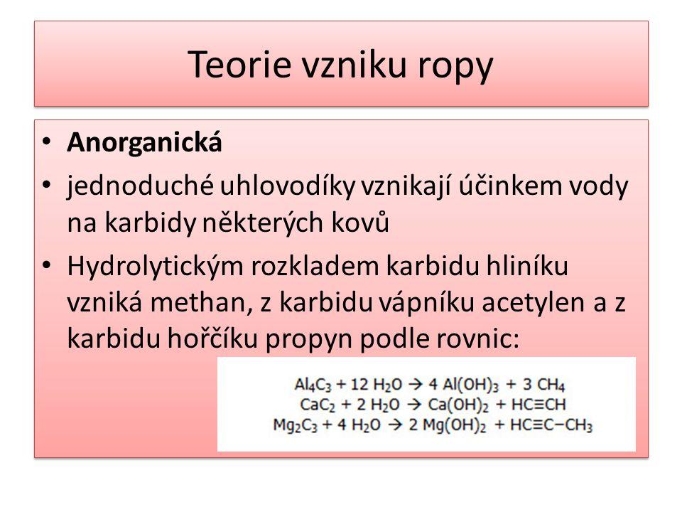 Teorie vzniku ropy • Anorganická • jednoduché uhlovodíky vznikají účinkem vody na karbidy některých kovů • Hydrolytickým rozkladem karbidu hliníku vzniká methan, z karbidu vápníku acetylen a z karbidu hořčíku propyn podle rovnic: • Anorganická • jednoduché uhlovodíky vznikají účinkem vody na karbidy některých kovů • Hydrolytickým rozkladem karbidu hliníku vzniká methan, z karbidu vápníku acetylen a z karbidu hořčíku propyn podle rovnic: