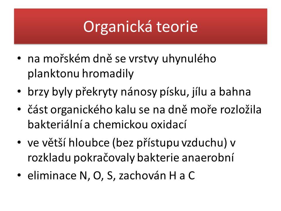 Organická teorie • na mořském dně se vrstvy uhynulého planktonu hromadily • brzy byly překryty nánosy písku, jílu a bahna • část organického kalu se n