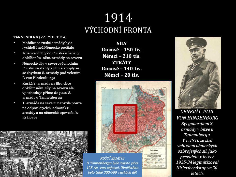 1914 VÝCHODNÍ FRONTA TANNENBERG (22.-29.8. 1914) • Mobilizace ruské armády byla rychlejší než Německo počítalo • Rusové vtrhly do Pruska a hrozily obk