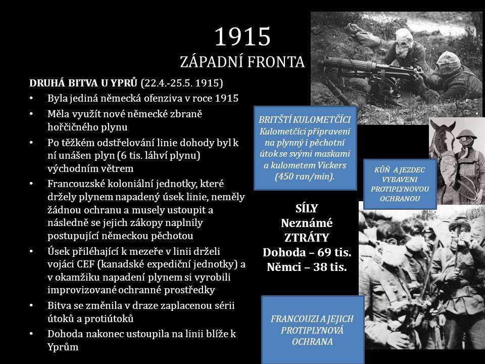 1915 ZÁPADNÍ FRONTA DRUHÁ BITVA U YPRŮ (22.4.-25.5. 1915) • Byla jediná německá ofenziva v roce 1915 • Měla využít nové německé zbraně hořčičného plyn