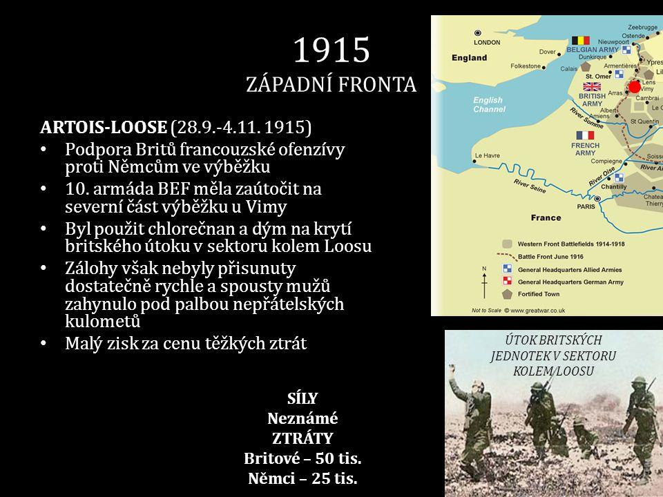 1915 ZÁPADNÍ FRONTA ARTOIS-LOOSE (28.9.-4.11. 1915) • Podpora Britů francouzské ofenzívy proti Němcům ve výběžku • 10. armáda BEF měla zaútočit na sev