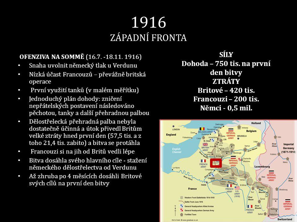 1916 ZÁPADNÍ FRONTA OFENZIVA NA SOMMĚ (16.7. -18.11. 1916) • Snaha uvolnit německý tlak u Verdunu • Nízká účast Francouzů – převážně britská operace •