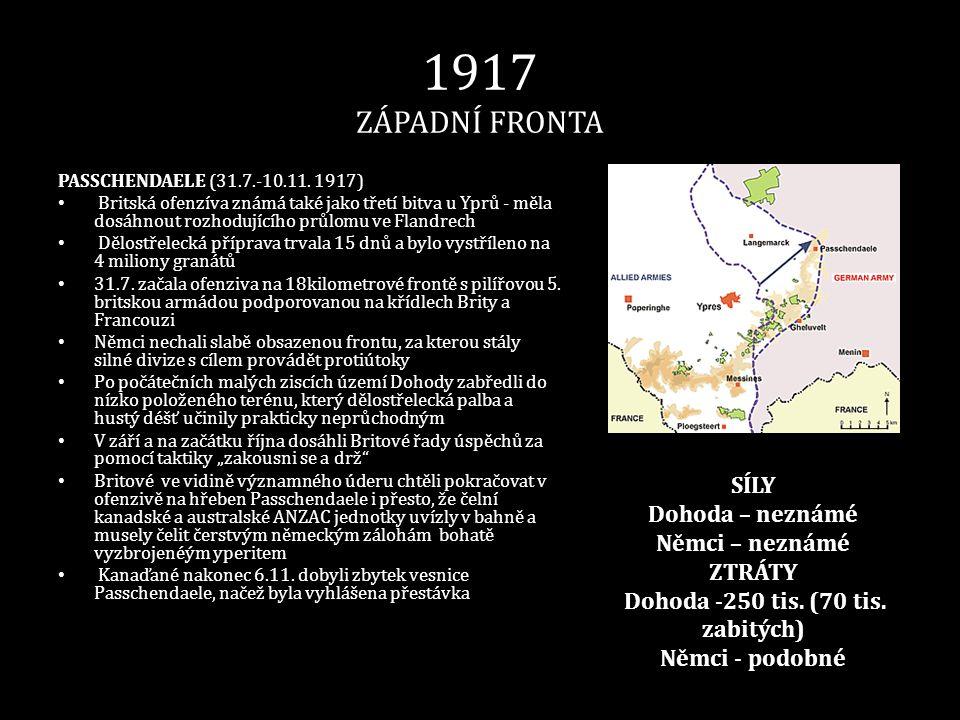 1917 ZÁPADNÍ FRONTA PASSCHENDAELE (31.7.-10.11. 1917) • Britská ofenzíva známá také jako třetí bitva u Yprů - měla dosáhnout rozhodujícího průlomu ve