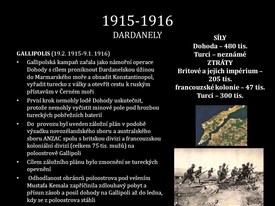 1915-1916 DARDANELY GALLIPOLIS (19.2. 1915-9.1. 1916) • Gallipolská kampaň začala jako námořní operace Dohody s cílem proniknout Dardanelskou úžinou d