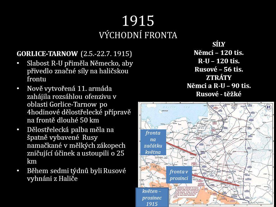 1915 VÝCHODNÍ FRONTA GORLICE-TARNOW (2.5.-22.7. 1915) • Slabost R-U přiměla Německo, aby přivedlo značné síly na haličskou frontu • Nově vytvořená 11.