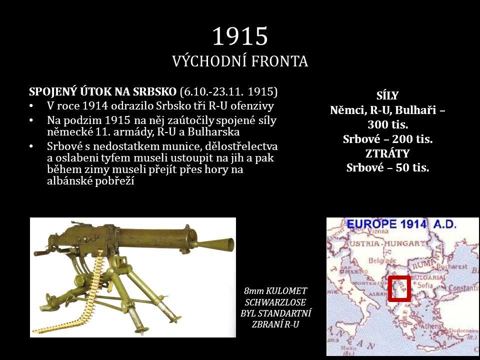 1915 VÝCHODNÍ FRONTA SPOJENÝ ÚTOK NA SRBSKO (6.10.-23.11. 1915) • V roce 1914 odrazilo Srbsko tři R-U ofenzivy • Na podzim 1915 na něj zaútočily spoje