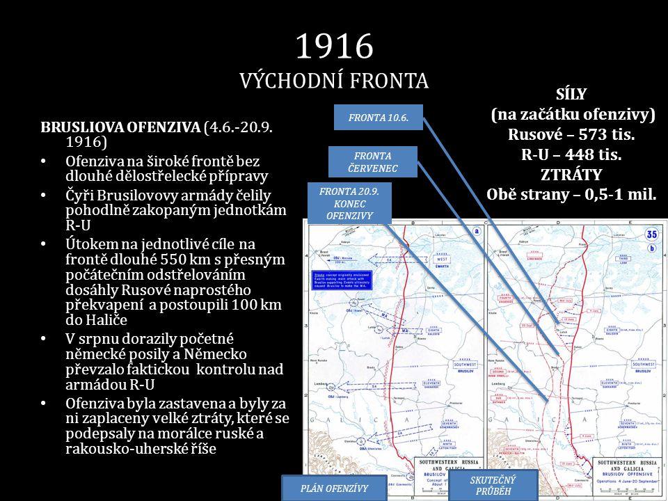 1916 VÝCHODNÍ FRONTA BRUSLIOVA OFENZIVA (4.6.-20.9. 1916) • Ofenziva na široké frontě bez dlouhé dělostřelecké přípravy • Čyři Brusilovovy armády čeli