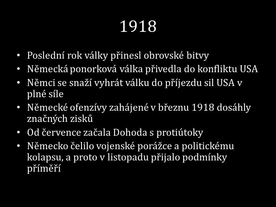 1918 • Poslední rok války přinesl obrovské bitvy • Německá ponorková válka přivedla do konfliktu USA • Němci se snaží vyhrát válku do příjezdu sil USA