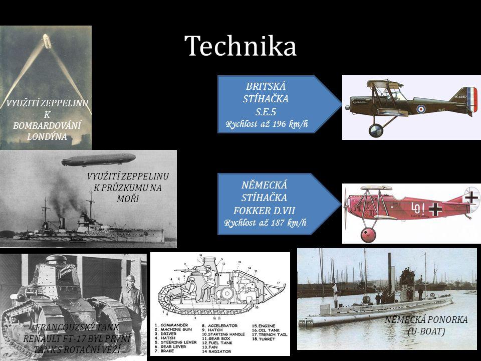 Technika NĚMECKÁ STÍHAČKA FOKKER D.VII Rychlost až 187 km/h BRITSKÁ STÍHAČKA S.E.5 Rychlost až 196 km/h VYUŽITÍ ZEPPELINU K BOMBARDOVÁNÍ LONDÝNA VYUŽI