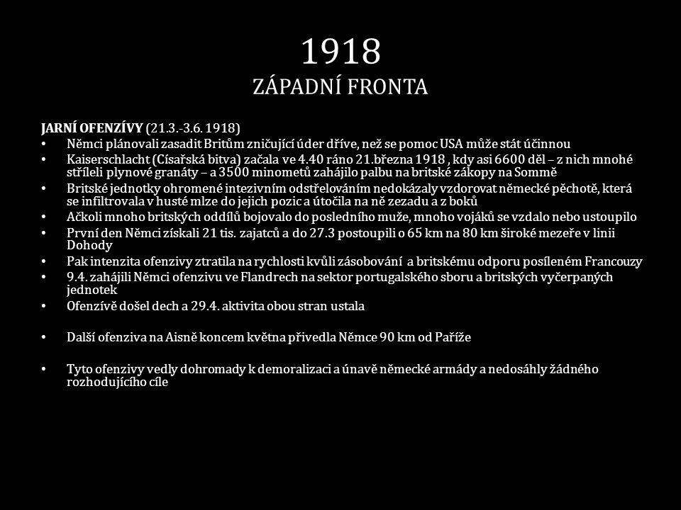 1918 ZÁPADNÍ FRONTA JARNÍ OFENZÍVY (21.3.-3.6. 1918) • Němci plánovali zasadit Britům zničující úder dříve, než se pomoc USA může stát účinnou • Kaise