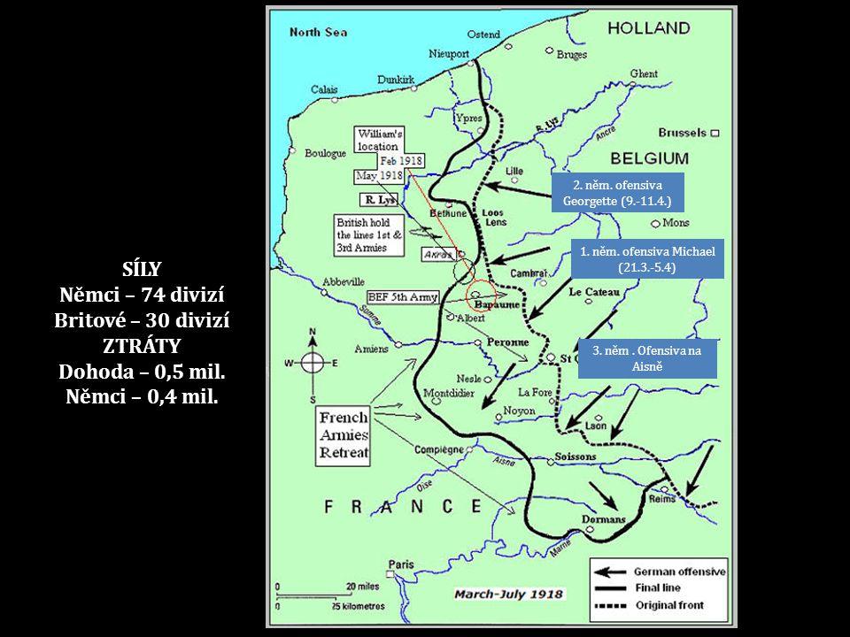 1. něm. ofensiva Michael (21.3.-5.4) 2. něm. ofensiva Georgette (9.-11.4.) 3. něm. Ofensiva na Aisně SÍLY Němci – 74 divizí Britové – 30 divizí ZTRÁTY