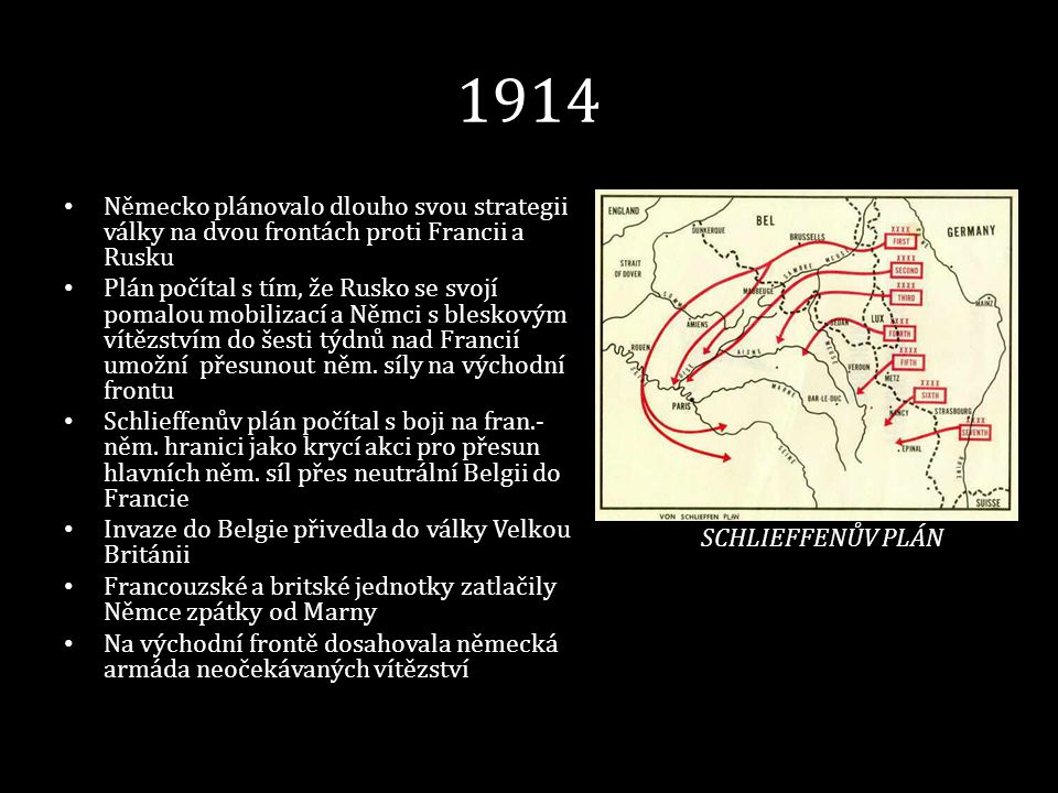 1914 • Německo plánovalo dlouho svou strategii války na dvou frontách proti Francii a Rusku • Plán počítal s tím, že Rusko se svojí pomalou mobilizací